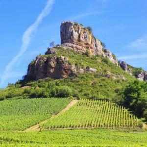 Solutre Rock with vineyards in Burgundy